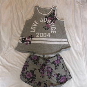 Justice Active shorts set gray color